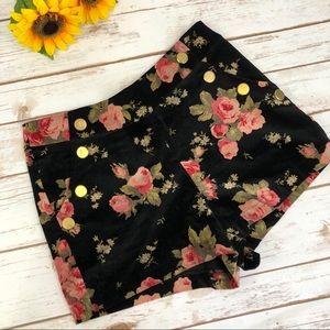 Ark & Co. Floral Velvet Shorts sz M ::U4